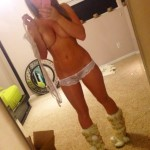 cute girl wearing boots mirror pic